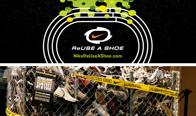 Here are the Nike Reuse-A-Shoe drop off locations (just check off Reuse-A-Shoe under Refine Your Search) and be sure to check out their website for more
